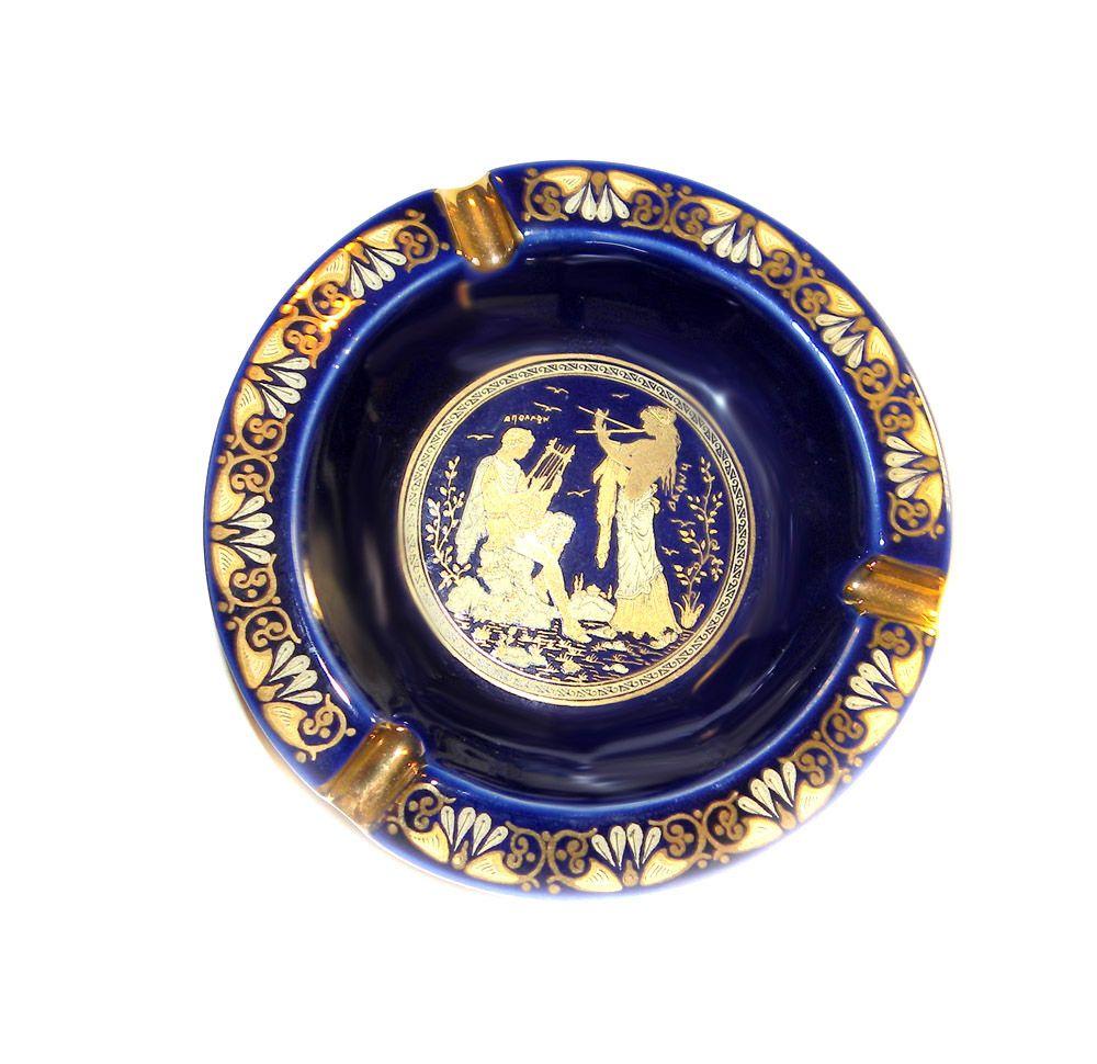 Ceramotechnica Xipolias Handmade Painted In Hellas Greek Pottery Ashtray 24k GOLD