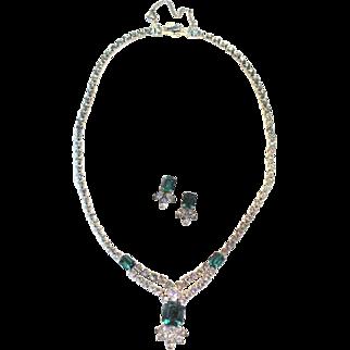 50S Sterling Clasp Demi Parure Faux Emerald Diamonds Necklace Post Pierced Earrings LOVELY!
