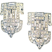 E. A. Phinney Art Deco Shoe Fur Dress Clips Buckles Rhinestone Pat. 1852186 Sparkly!