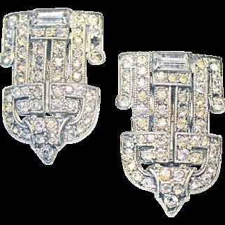 E. A. Phinney Art Deco Shoe Fur Dress Clips Buckles Rhinestone Pat. 1852186 Sparkly!