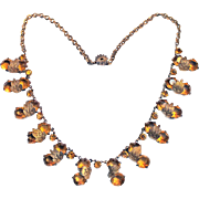 Art Deco Ornate Costume Jewelry Necklace Faceted Yellow Stones