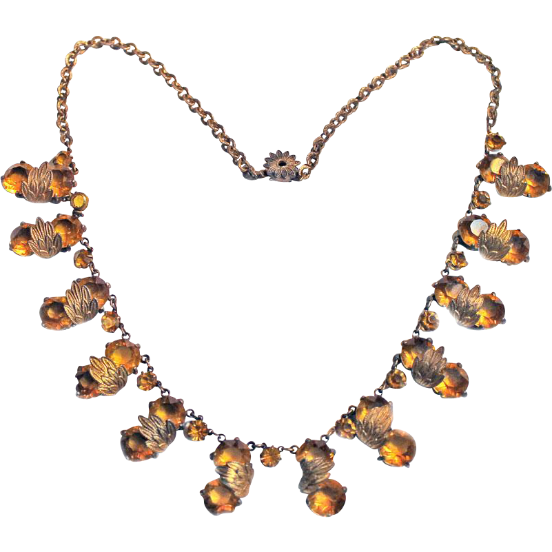 deco ornate costume jewelry necklace faceted yellow stones from kristiesdeals on ruby
