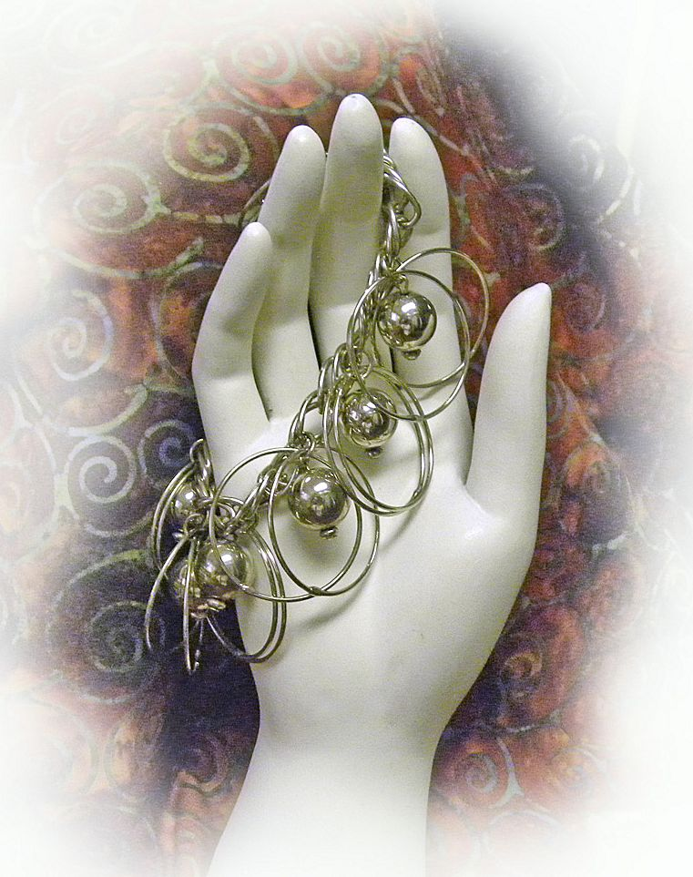 Gypsy Dangle Bracelet Silvertone Shabby Chic