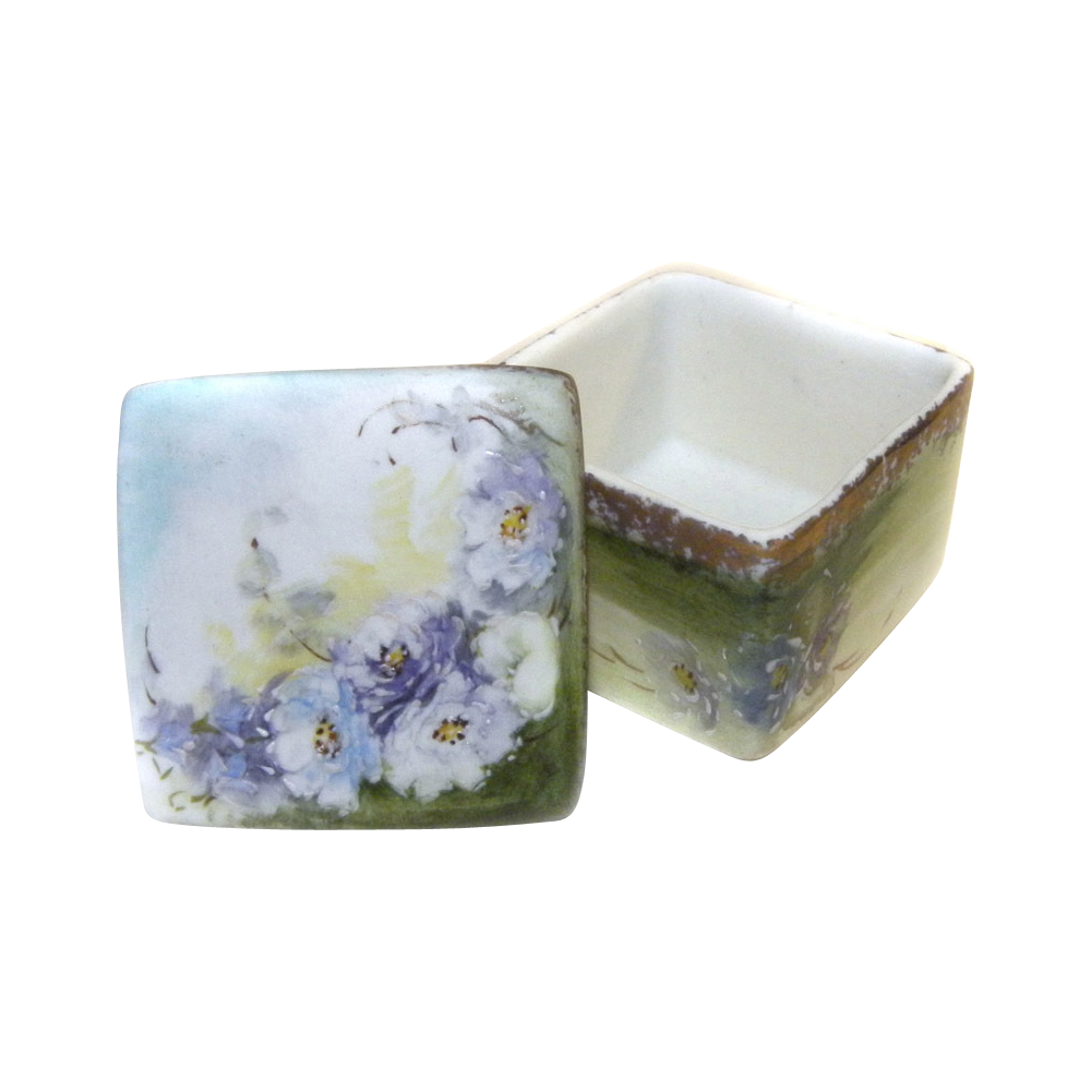 Trinket Box Hand Painted SIGNED Bisque Amazing Detail!
