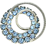 Circle Pin Blue Rhinestones Three Dimensional Silvertone 1 3/8""