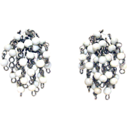 40s Cha Cha Milk Glass 4mm Beads Clip On Dangle Earrings