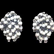 40s Cha Cha Milk Glass 4mm Beads Clip On Dangle Earrings