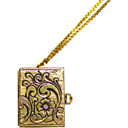 "Photo Album Locket with CZ SPRING LOADED Pull Open Latch To Display 4 Little PICTURES! 30"" Chain"
