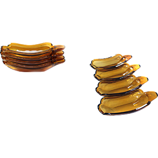 *RARE* Amber Glass Four SODA FOUNTAN Banana Split Dishes
