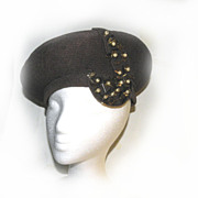 Beret Plume Beaded Hat BEADED Faux PEARLS Cute !