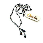 Carolee Y Necklace Black Jet Rose Cut Beads VICTORIAN Inspired NEW OLD STOCK