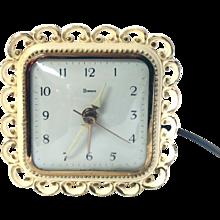 1964 Syroco Alarm Clock MODEL 704 Electric Gold Antiqued