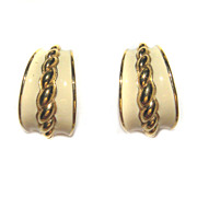 Monet Vintage Enamel Pierced Hoop Earrings Goldtone