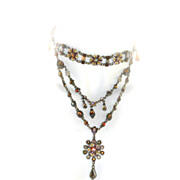 "Beaded ""Felicia"" Necklace Earrings SET Enamel Beads Bronzetone"