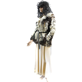 Fur Curly Lamb MONGOLIAN TIBETAN Fur Jacket M Cream Tan Brown Suede Trimmed d'Jimas Furs LOVELY!