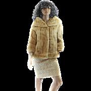60S Dawn Mink Fur LUXURIOUS Coat Stroller JACKET Large Jackie O