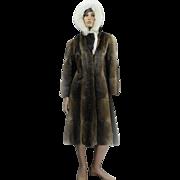 Mink Coat HOODED *rare* Custom Canadian Fur FOX Trimmed Collar Ladies Size 38 LONG