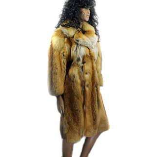 Red Fox Canadian Fur Coat Ladies CUSTOM MADE Size 36 Ca 1970s