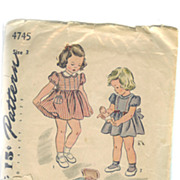 Simplicity ca. 1943 Pattern Sewing Size 3 LITTLE GIRL Dress Bloomers