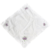 Handkerchief VIOLETS Embroidered DETAILED Hanky
