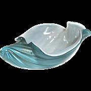 "1960s Large 13"" Turquoise  Murano Aventurine  BULLICANTE Conch AQUA Art Glass BOWL Dish"