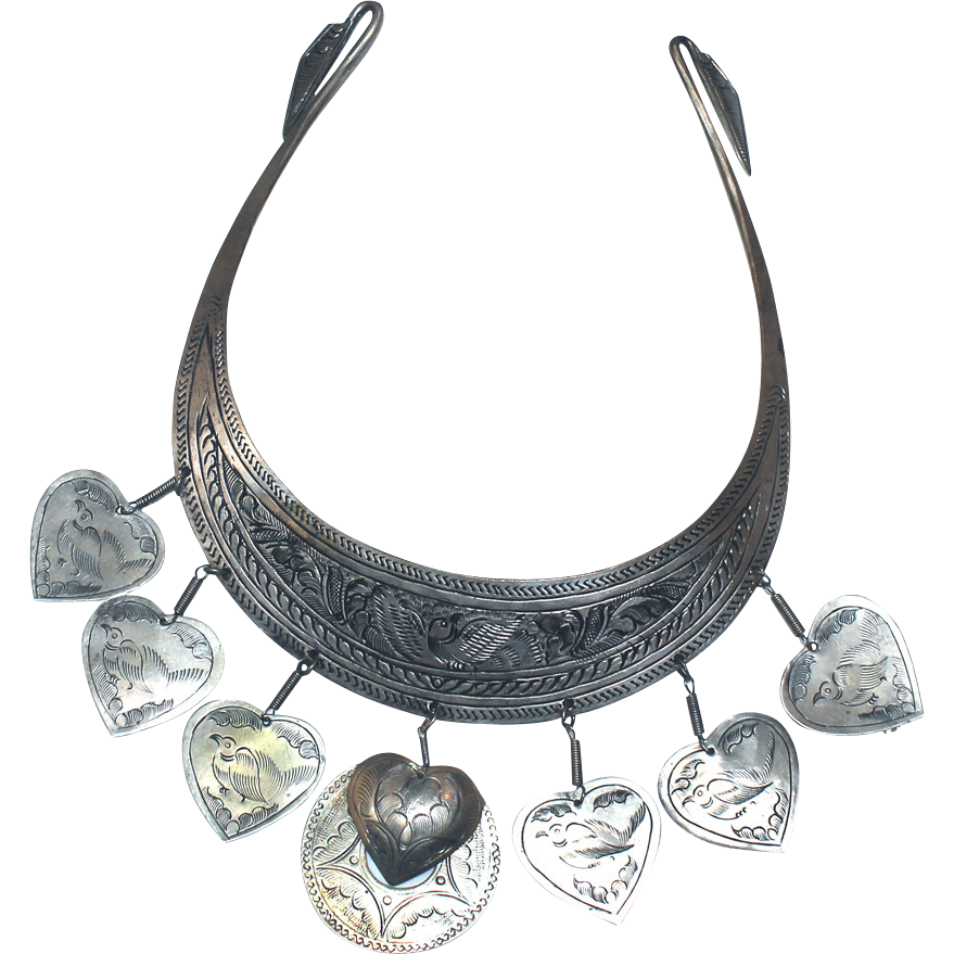 tribal collar hand made necklace wild birds with heart