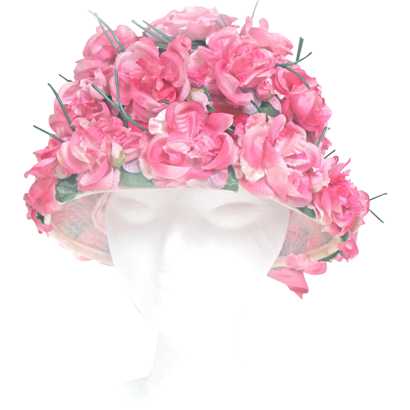 vintage 1960s showy easter bonnet hat floral pink silk flowers with box millinery