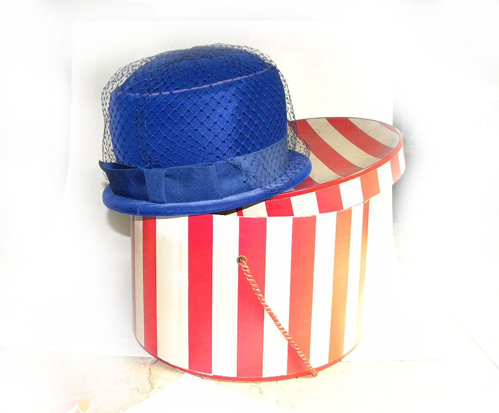 Derby Church Hat with Box Royal Blue VELVETEEN NET BOW