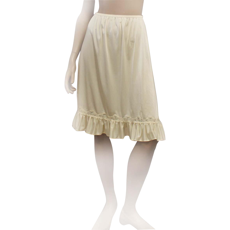 Vintage Mel-Lin Half Slip 100% Nylon Ecru Size Medium
