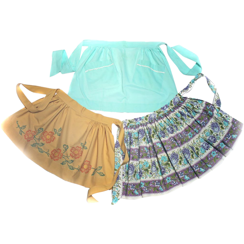 Three 60s Half Aprons Cross Stitch COLORFUL! Ample Size