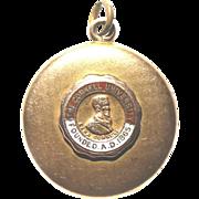 "W&H Co. 14k Solid Gold Locket 1"" Emblem CORNELL UNIVERSITY Engraved 8 Grams"