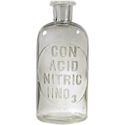 Con Acid Nitric HN03 Apothecary Chemist Laboratory Clear Glass  Bottle Etched M.B.W. U.S.A.