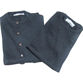 Ban-Lon TALBOTS Sweater SET Black 1960s Ladies Size 38