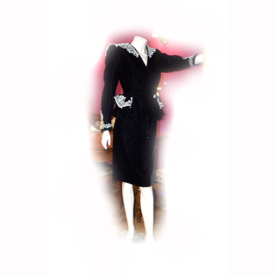 Designer Sample Ladies PEPLUM 2 Piece Dress Suit VELVET SOUTACHE Trim 1980s Size 14
