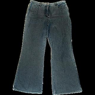Chanel Jeans 1970s Mini Bell Blue RHINESTONE Logo Pocket SIZE 32-30 Womens
