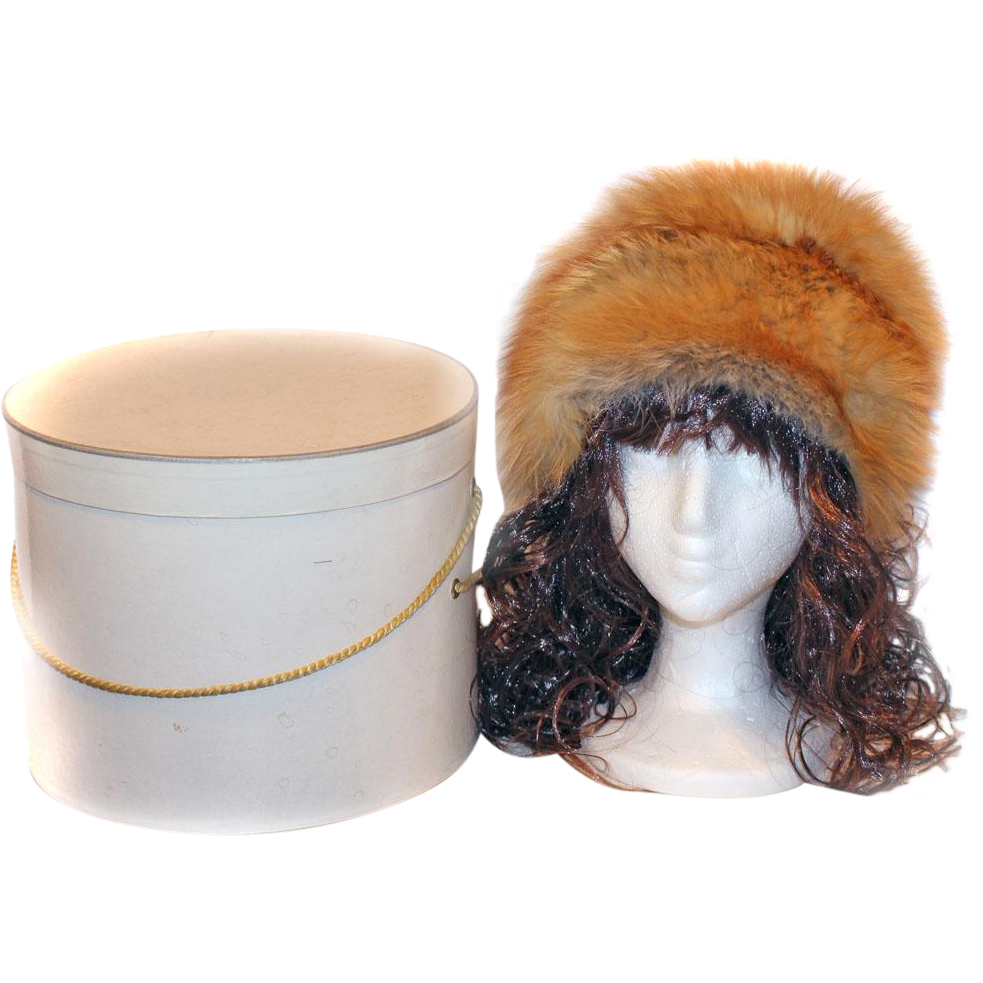 1960s Red Fox Caramel Grey Variegated Fur Hat WITH Box OUTSTANDING!
