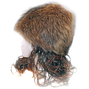 Raccoon Hat PIXIE Cone Style Fur by Jean Guy HAUTE MODE With Box