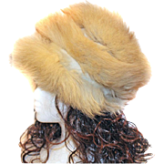 Fox Fur Hat Three Banded Sections TALL Distinctive
