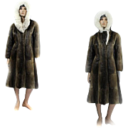 Mink Coat HOODED *rare* Custom Canadian Mink FOX Ladies Size 38 LONG
