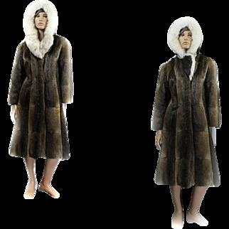 Mink Coat HOODED *rare* Custom Canadian Mink FOX Ladies Size 38 LONG