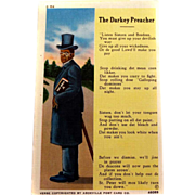 Black Americana 'The Darkey Preacher' Postcard UNUSED Asheville Post Card Co.
