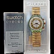 1993  Swatch Watch 'GOLDEN GLOBE' New In Box Warranty Chronograph