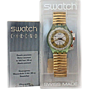 1993  Swatch Watch 'GOLDEN GLOBE' New In Box Warranty Chronograph