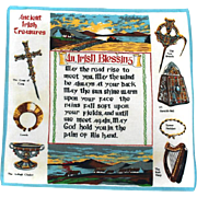 Hankie Irish BLESSING Ireland Souvenir Handkerchief
