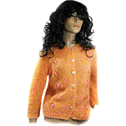 1960s Mohair Sweater HAND KNITTED IN ITALY Size Medium Ladies NEW Yummy Colors!