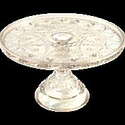 Early American Pattern Glass Pedestal Cake Stand, Circa 1920