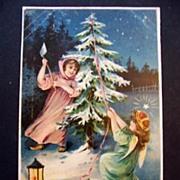 Vintage Embossed Christmas Postcard Angel Girl Cutting Christmas Tree