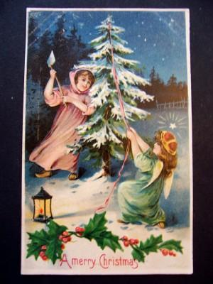 Vintage Embossed Christmas Postcard Angel Girl Cutting Christmas Tree Free Shipping
