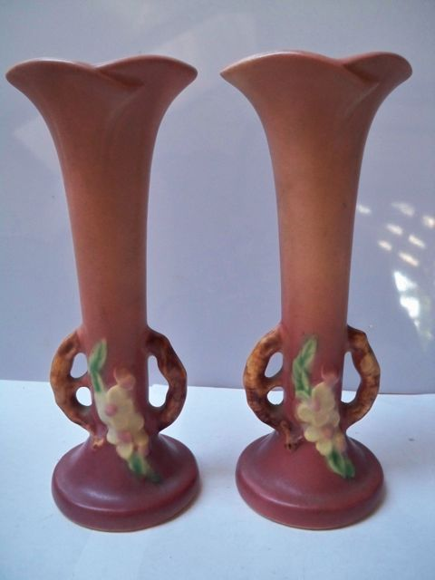 Pair Roseville Apple Blossom Twig Handles Bud Vases 379-7
