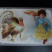 Vintage Thanksgiving Postcard Girl Spanish Outfit Turkey 1909